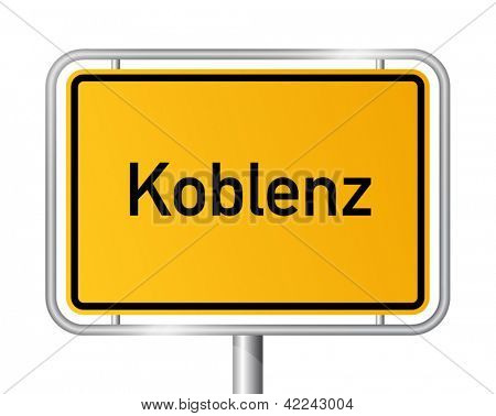 City limit sign Koblenz against white background - signage Coblenz - Rhineland Palatinate, Rheinland Pfalz, Germany