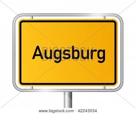 City limit sign Augsburg against white background - signage - Bavaria, Bayern, Germany