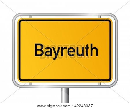 City limit sign Bayreuth against white background - signage - Bavaria, Bayern, Germany