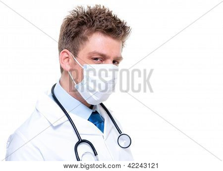 Male Nurse Or Doctor Portrait Wearing Surgical Mask