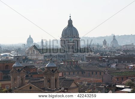 Skyline Of Rome Towards San Carlo Al Corso