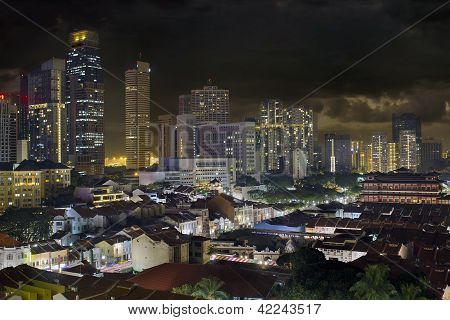 Singapore Skyline And Chinatown Cityscape