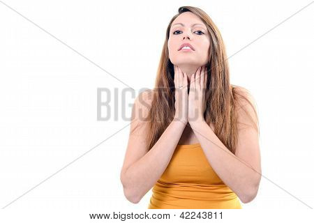 Pretty Young Woman Sore Throat Isolated On White Background
