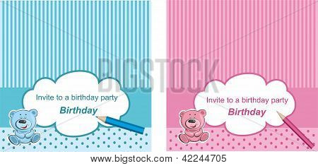 Blue And Pink  Vector Card Or Invitation For Birthday Or Baby Shower Party With Sweet Vintage Strips