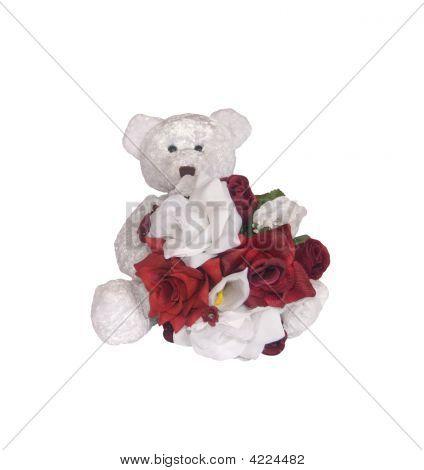 Teddy Bear And Silk Flowers