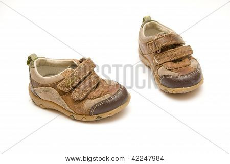 Child shoes isolated on a white background