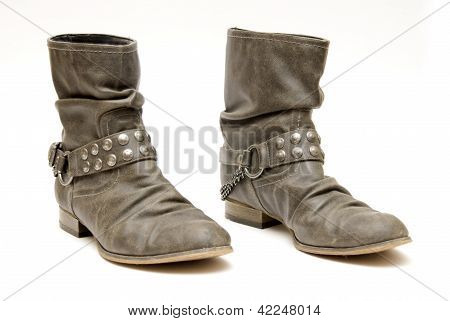 Womens Ankle boots with chains across them