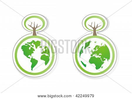Earth eco vector recycling icon, sign or sticker with green trees and world globe isolated on white