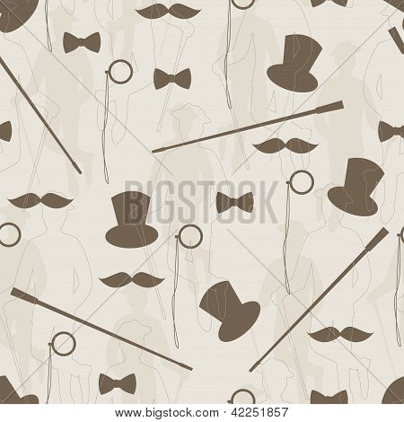 Retro seamless pattern for man