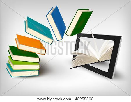 Books flying in a tablet. Raster version of vector.