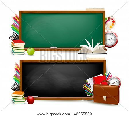 Back to school. Two banners with school supplies. Raster version of vector.
