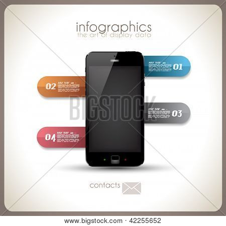 Infographics Desgin template with high tech smartphone with touch screen and a lot of paper tags