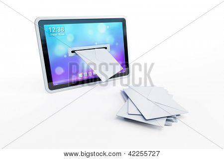 tablet with incoming letters via e-mail