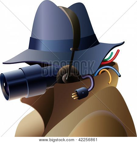 Portrait of a techno-spy. Raster image. Find an editable version in my portfolio.