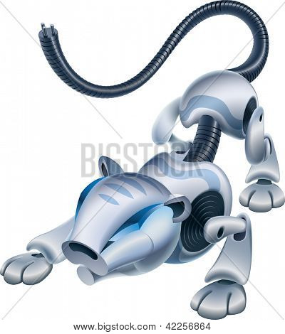 Artificial animal, the Robotiger is ready to jump. Vector illustration. Find an editable version in my portfolio.