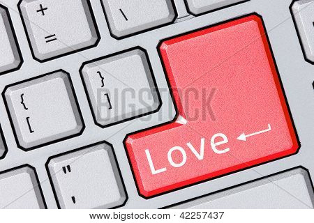 Modern Keyboard With Love Text