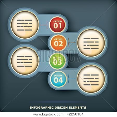 Presentation template with four different element with space for title and additional information