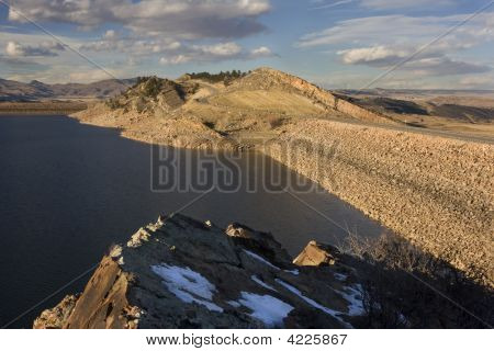 Two Dams Of Mountain Reservoir In Colorado