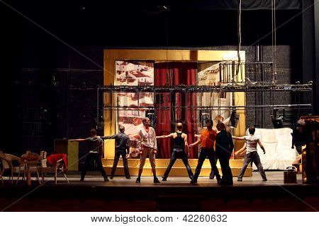MOSCOW - JANUARY 27: Actors dance at rehearsal in Palace on Yauza on January 27, 2012 in Moscow, Russia.