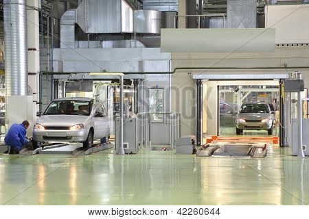 TOGLIATTI - SEPTEMBER 30: Test of new cars Lada Kalina at factory VAZ on September 30, 2011 in Togliatti, Russia. In 2012, AvtoVAZ sold in Russia, more than 530 000 vehicles.