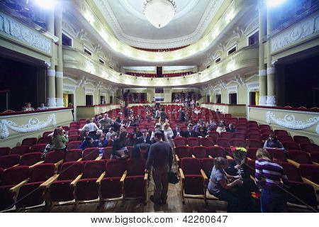MOSCOW - JANUARY 27: Audience in theater takes place before at Musical Witches of Eastwick in Palace on Yauza, January 27, 2012, Moscow, Russia. Palace of Yauza built in 1903 as People House Vvedensky