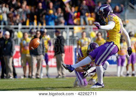 VIENNA, AUSTRIA - APRIL 9 Kicker Sebastian Daum (#18 Vikings) kicks a PAT on April 9, 2012 in Vienna, Austria.