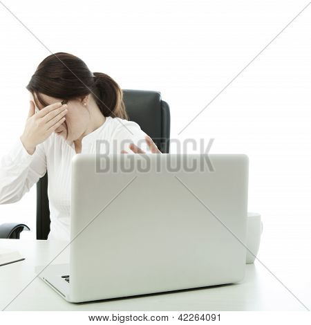 Young Brunette Businesswoman With Glasses Is Shocked Laptop
