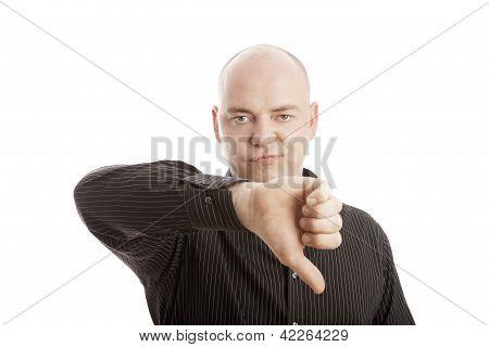 Bald man with black shirt thumbs down