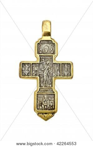 Golden Orthodox Cross, Isolated Over White