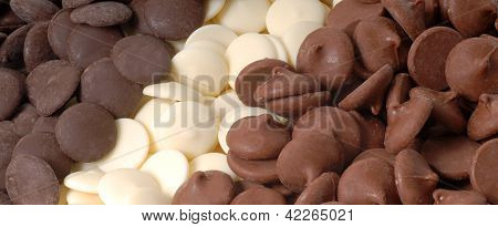Three Types Of Chocolate Chips, Dark, White And Semi-sweet