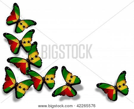 Sao Tome And Principe Flag Butterflies, Isolated On White Background
