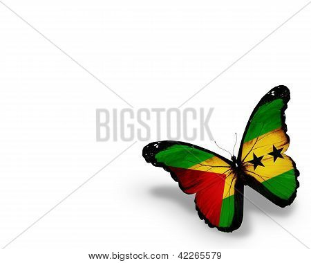 Sao Tome And Principe Flag Butterfly, Isolated On White Background