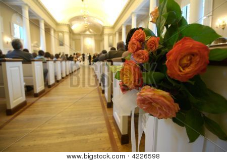 Floral Bouquet Inside A Church During A Wedding Ceremony