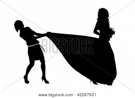 Silhouette Of A Bride And Her Jealous Bridemaid