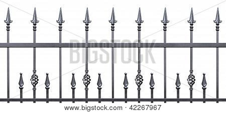 Forged Decorative Fence Isolated Horizontal Panorama