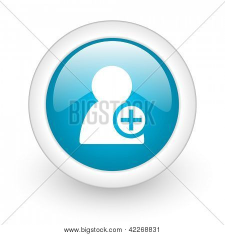 add contact blue circle glossy web icon on white background