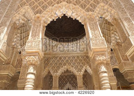 Roof, Arches, Columns, & Carvings Of Alhambra Palace