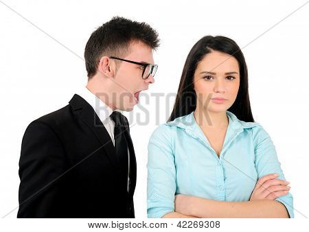 Isolated young business couple argue