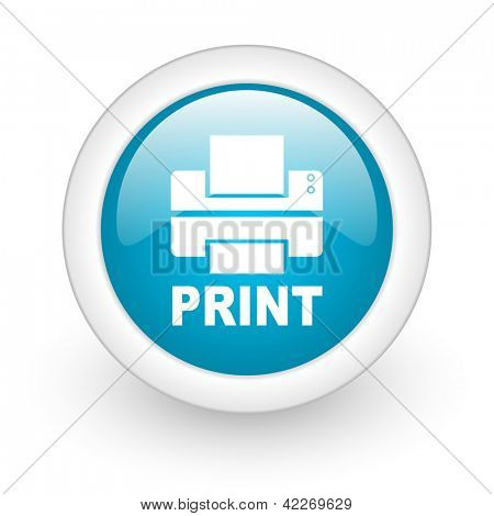 print blue circle glossy web icon on white background