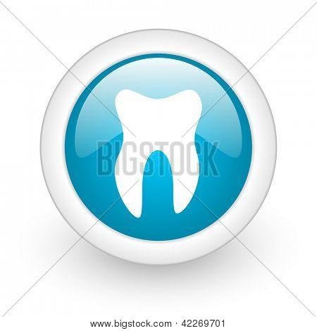 tooth blue circle glossy web icon on white background