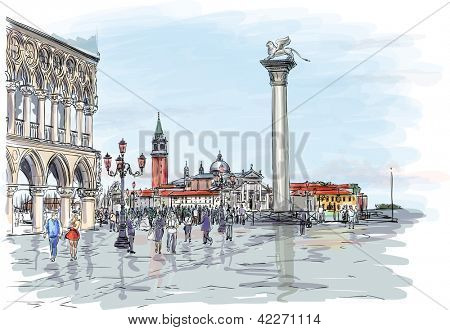 Venice. Piazza San Marco. Doge's Palace and the view of the island of San Giorgio Maggiore. Vector drawing. Eps10