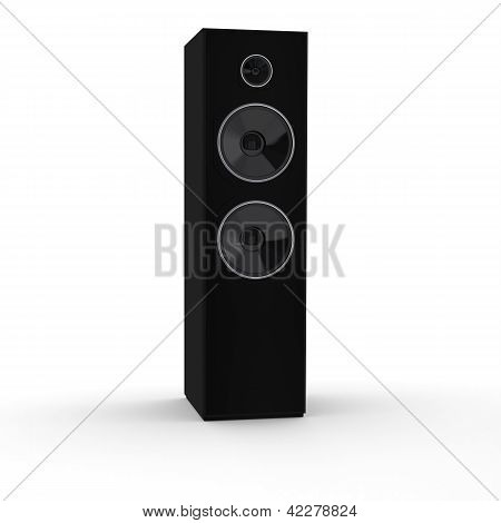 Rendered 3d black loudspeaker tower