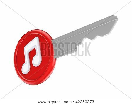 Note symbol on a key.