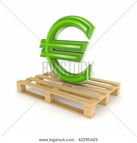 Euro sign on pallet.