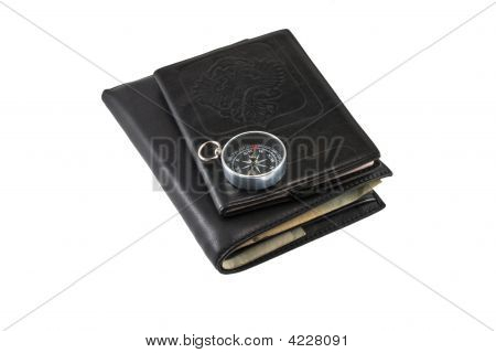 Leather Wallet, Passport,Compass.Isolated On White Background.