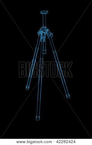 TriPod 3D rendered xray blue transparent isolated on black