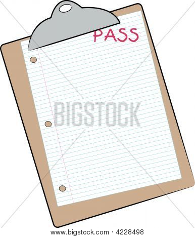 Clip Board With Pass On Lined Paper