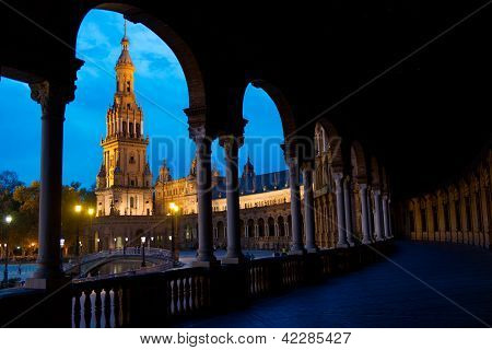 The Place Of Spain In Sevilla by night