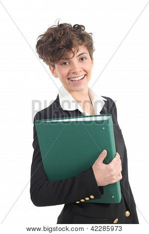 Beautiful And Modern Businesswoman Holding A Green Folder