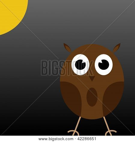 Cute Brown Owl Under The Moon.